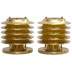 Pair of Kari Ruokonen Brass Table Lamps, by Orno in Finland