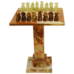 Luxury Italian Alabaster and Marble Chess, circa 1970