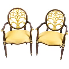 Pair of Napoleon III Style Mahogany and Giltwood Armchairs, Late 20th Century