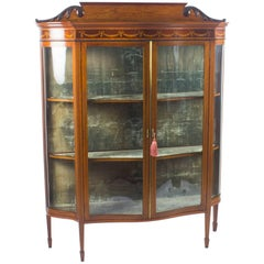 Early 20th Century Edwardian Serpentine Inlaid Mahogany Display Cabinet