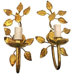 Pair of Gilt Petite Leaf Sconces, Vintage, Italy, 1960s