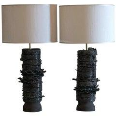 Flair Edition Black/Blue/Green Glazed Ceramic Lamp