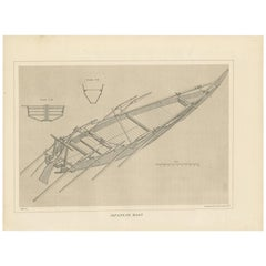 Antique Print of a Japanese Wooden Boat by Ackerman, 1856