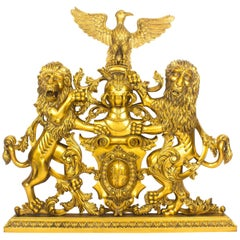 Mahogany Heraldic Carved Giltwood Coat of Arms, Late 20th Century