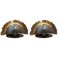 Pair of Italian Murano Glass Shell Lamps, 1980s