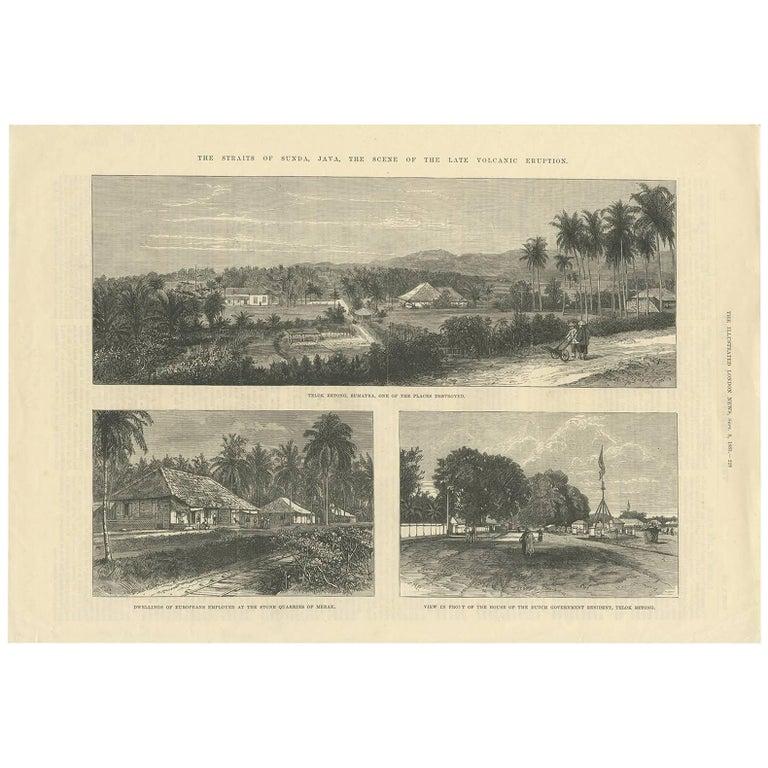 Antique Print of the Straits of Sunda 'Java, Indonesia' Published 1883