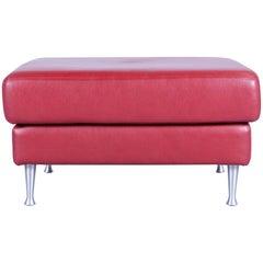 Ewald Schillig Designer Footrest with Red Leather