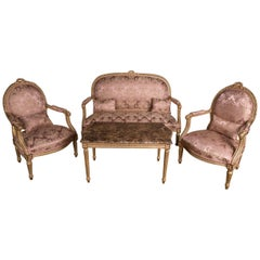 French Seating Set Louis Seize Style, Nice Floral Patterns