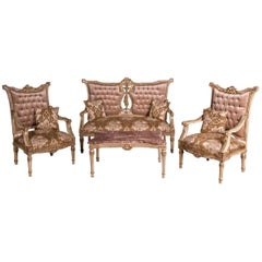 Elegant French Seating Set Sofa and Two Armchairs in the Louis Seize Style