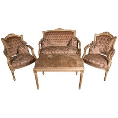 Classic French Seating Set Sofa and Two Armchairs in the Louis Seize Style