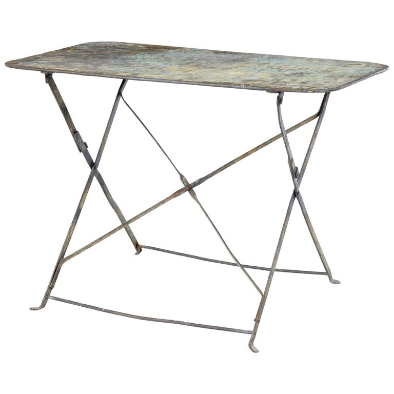 Early 20th Century French Painted Steel Garden Table For Sale