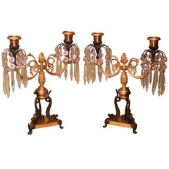 Pair of Regency Bronze and Ormolu Two-Light Lustre Candlesticks