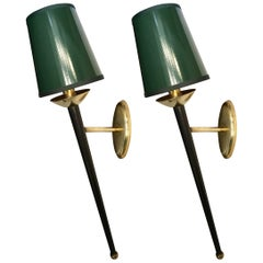Pair of Torch Wall Sconces by Maison Arlus