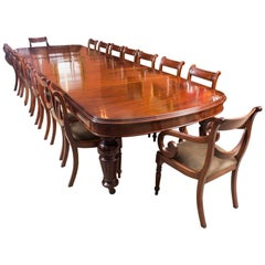 Antique Victorian D-End Mahogany Dining Table 19th Century and 16 Chairs