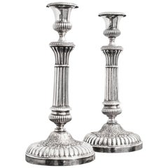 Pair of French Silver Metal Candlesticks