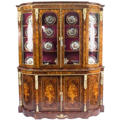 Victorian Ormolu-Mounted Burr Walnut Floral Marquetry Cabinet, 19th Century