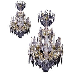 Pair of Louis XV Style Six-Light Gilt-Bronze and Rock Crystal Cage Chandeliers