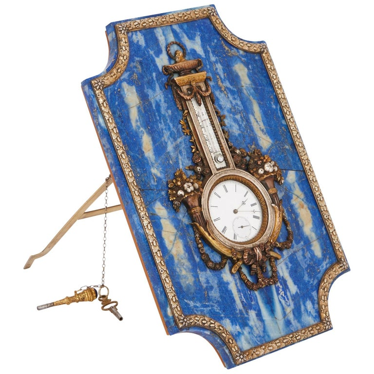 Lapis Lazuli Table Clock and Barometer For Sale