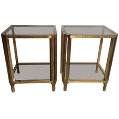 Pair of Vintage French Brass Bedside or Side Tables