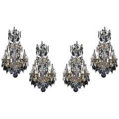 Set of Four Louis XV Style Six-Light Rock Crystal Cage Chandeliers