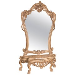 High Quality Elegant Rococo Console Table with Big Mirror
