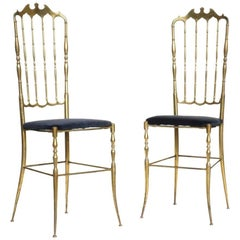 "Pair of ""Chiavarina"" Midcentury Italian Design Brass Blue Velvet Chiavari Chairs"