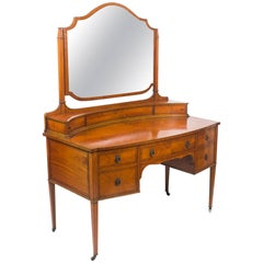 Antique Satinwood Inlaid Dressing Table, 19th Century