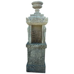 19th Century Oratory in Natural Stone with Vase Carved with Gadroons, France