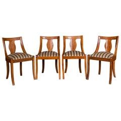 Original Antique Set of Four Biedermeier Chairs, circa 1830