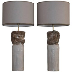 Flair Edition Ivory or Brown Glazed Ceramic Lamp