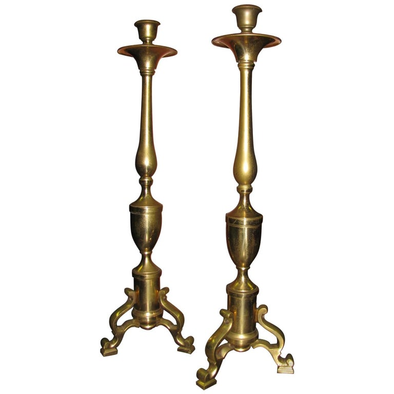 Pair of Tall Neoclassical Brass Candleholders