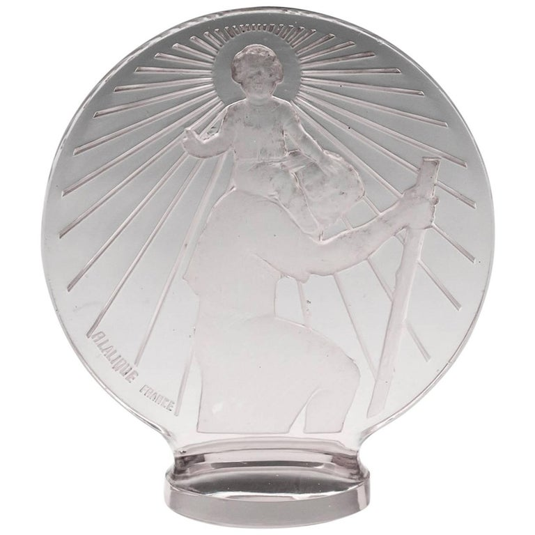 Rene Lalique St Christophe Glass Car Mascot, 20th Century