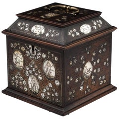 Extremely Rare Continental Antique Walnut Tea Chest 17th Century