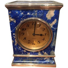 20th Century Silver and Lapis Clock Gustave Keller France