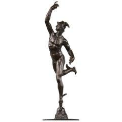Fine Italian Bronze of Naked Mercury in Flight