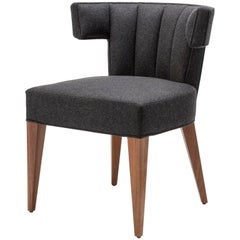 Contemporary Isabella Dining Chair in Wool with Legs in Walnut or Oak