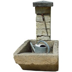 Rustic Garden Fountain with Antique Laundry Sink and Pediment in Stone, Provence