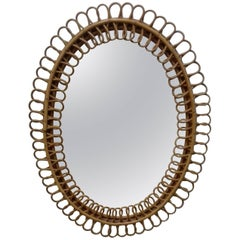 Mirror Rattan Model in Rattan in Full Style Gio Ponti