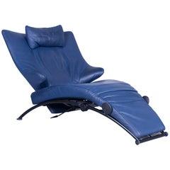 WK Wohnen Solo 699 Designer Chair Leather Blue Function Couch Modern