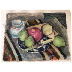 Still Life Watercolor Fruit Ensemble