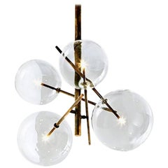 Gallotti & Radice Four Sphere Bolle Suspension Lamp in Glass and Burnished Brass