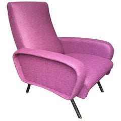 Reclining Purple Wool Fabric Lounge Chair in the Manner of Marco Zanuso