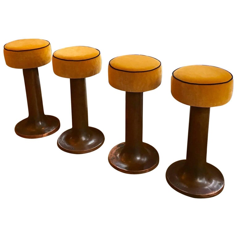Set of Four Early 20th Century Copper Bar Stools from an Italian Ocean Liner