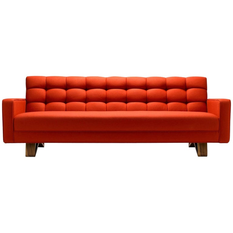 Contemporary Adoni Sofa in Moon Melton Wool with Legs in Walnut or Oak For Sale