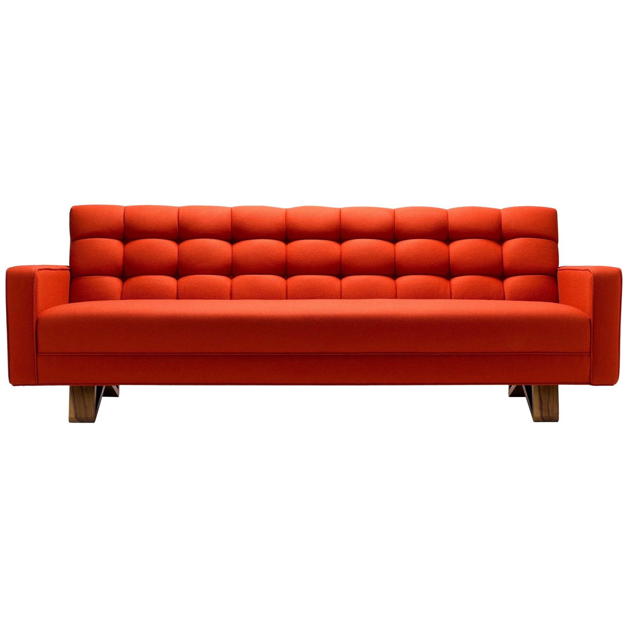 Contemporary Adoni Sofa in Moon Melton Wool with Legs in Walnut or Oak