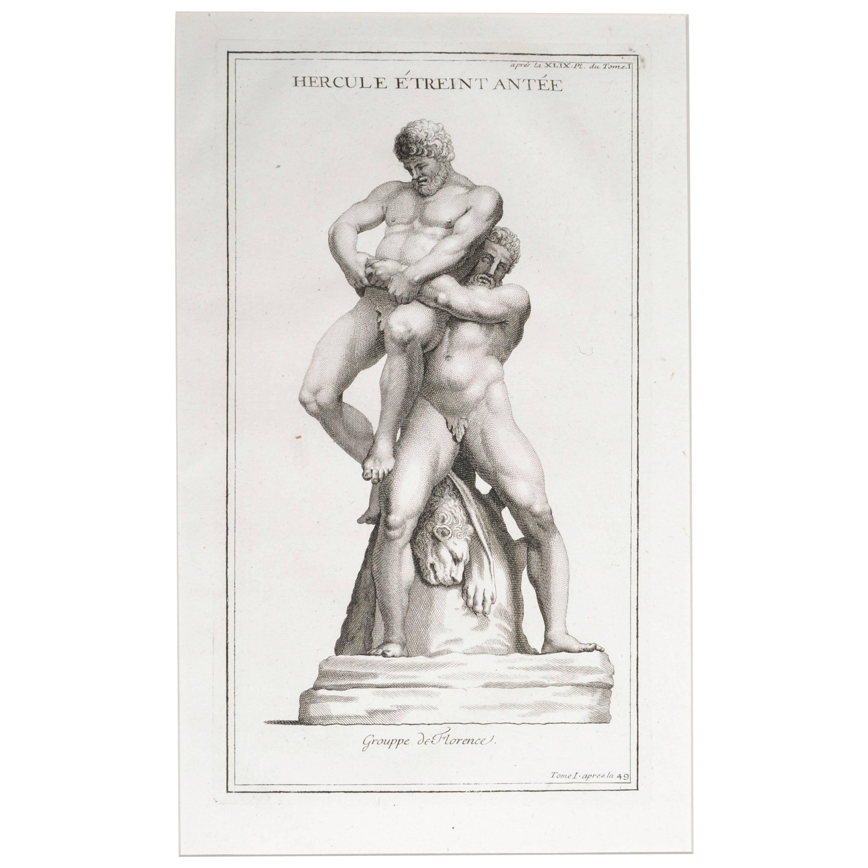 Antaeus Crushing Hercules, Copperplate Engraving