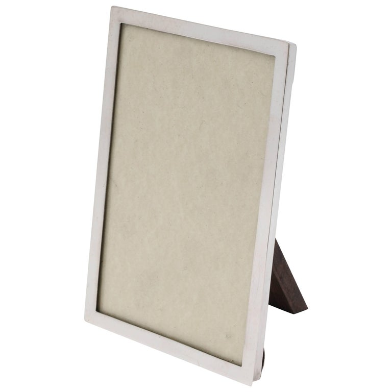 Art Deco Sterling Silver Picture Frame with Wood Back