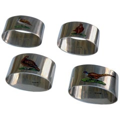 Antique English Sterling Silver - Set of 4 enamel Game Bird Napkin Rings Chester