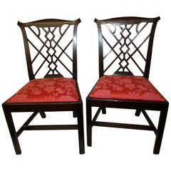 18th Century English Chinese Chippendale Mahogany Chair, Pair