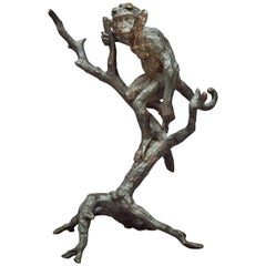 French Patinated Bronze Figural Group of a Monkey in a Tree, circa 1880